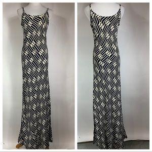 Vtg Cream Black Geometric Maxi Dress Straps Small